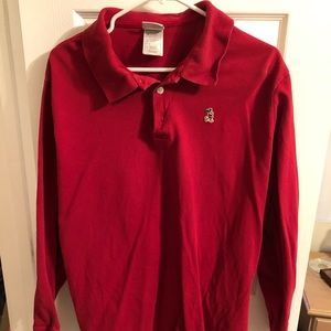 Size Large Red Vintage Disney Polo (Long Sleeve)